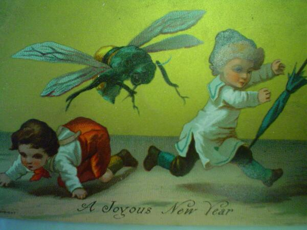Ah, how festive. Two children fleeing in terror from a giant killer wasp! #WeirdVictorianXmasCards http://t.co/Zj9l4oufYY