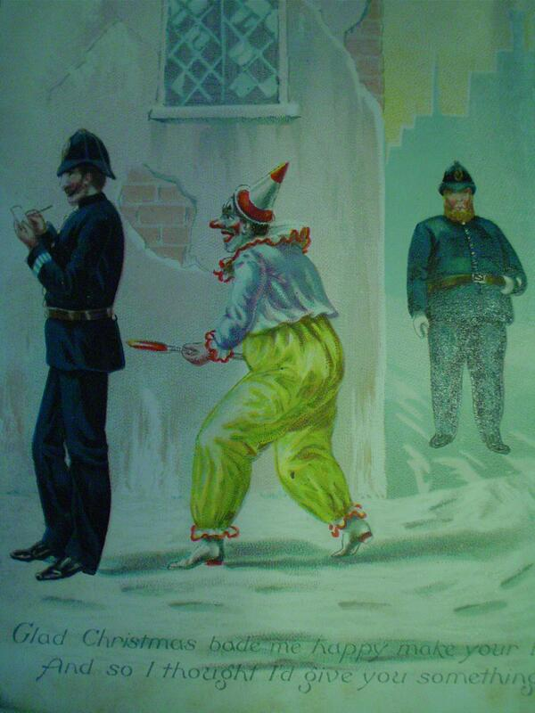 Merry Christmas! A time when sinister clowns sodomise policemen with red hot pokers... #WeirdVictorianXmasCards http://t.co/KNBQKfkgMt