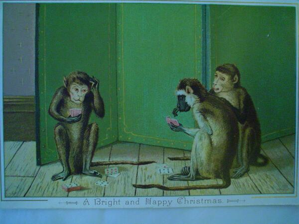 Tis the season for gambling monkeys, tra la la la la la la la la... #WeirdVictorianXmasCards http://t.co/72bSEFnm7F