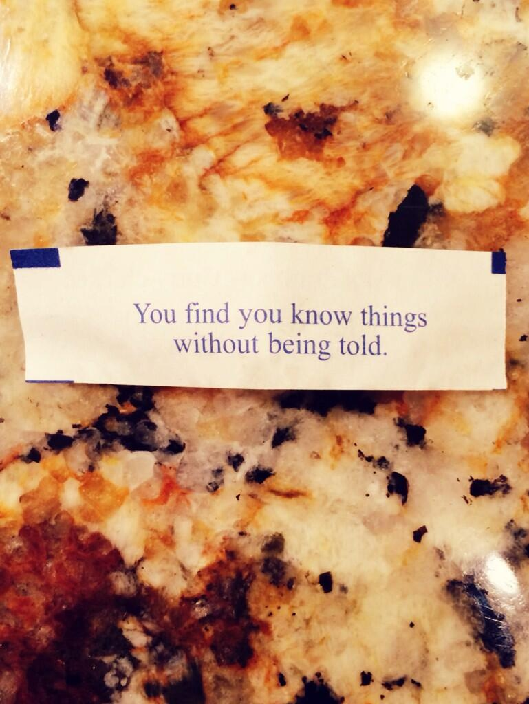 RT @lauren_pesce: Tell me something I don't know #fortunecookies http://t.co/FaYLrCqQ8l