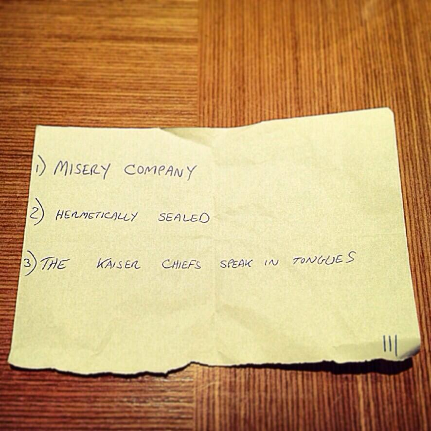 In 2008 we asked Jack White for 'any spare album titles'. He left this in our dressing room when we were on stage. http://t.co/NarRFrIWLg