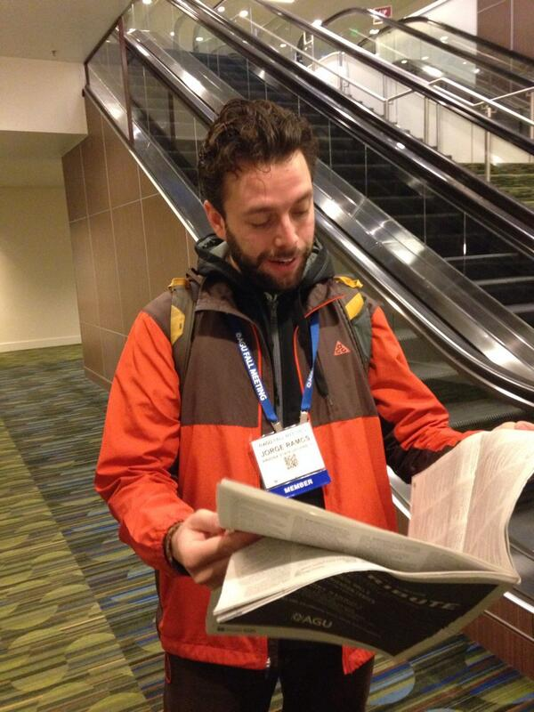 Day 2 of only Tuesday of the #AGU13 daily. @JorgeRH2O scrambling through all 64 pages!! Not the @washingtonpost! http://t.co/JPcbdJzceQ
