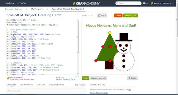 Hour of Coding is here. Let the people code. I did an hour of coding with Khan Academy last night. #HourOfCode http://t.co/MpktUNbKjR