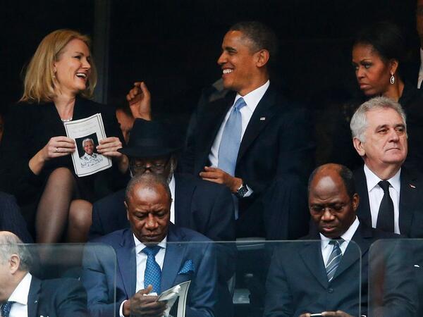 Michelle Obama scowls at Barack Obama