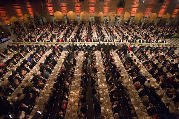 Photo from the ongoing Nobel Banquet, with 1,300 guests, held at the Stockholm City Hall since 1934. #NobelPrize http://t.co/sKsSu7rILC
