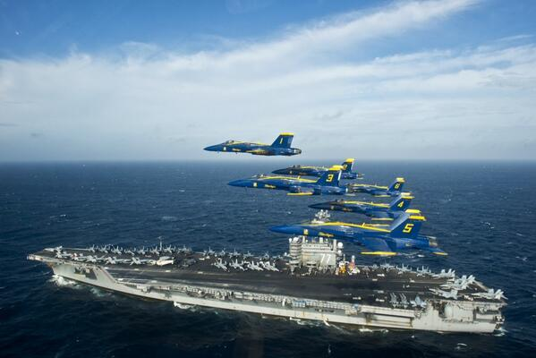Honored to fly over the USS George H.W. Bush today.@BlueAngels salute those serving on the tip of the spear. #BossBA