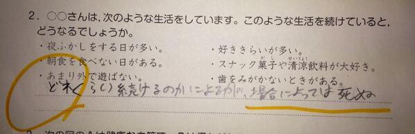 ムスコ六年生の保健(?)のテストの答えかたがすごくて笑った。一応マルになっている…(笑)