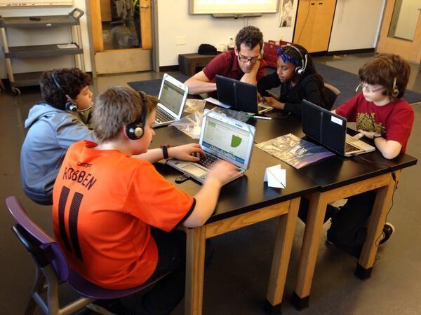 Ben Raikes's grade 6 scientists at @The_School explore @khanacademy's #HourOfCode activities: http://t.co/BzWWGkVFpM http://t.co/SZ1aZHkEuY