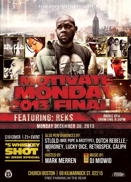 #MotivateMonday 12/30 @therealreks  @DutchReBelleFN @LuckyDice1 @MORONEY_MUSIC @retrospek1 @moepope77 @CaliphGK http://t.co/fZUCw4pm06
