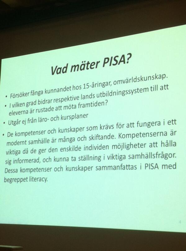 Vad mäter PISA? Ett missförstånd är att det är snuttifierade faktakunskaper. #PISA2012 http://t.co/ZOMMfHLlWq