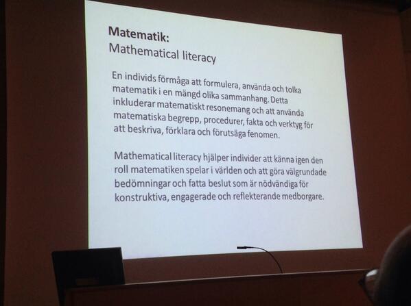 Nu om matematik utifrån #PISA2012 med Samuel Sollerman från @Stockholms_univ. Han inleder m mathematical literacy http://t.co/ZQSO7Y735y