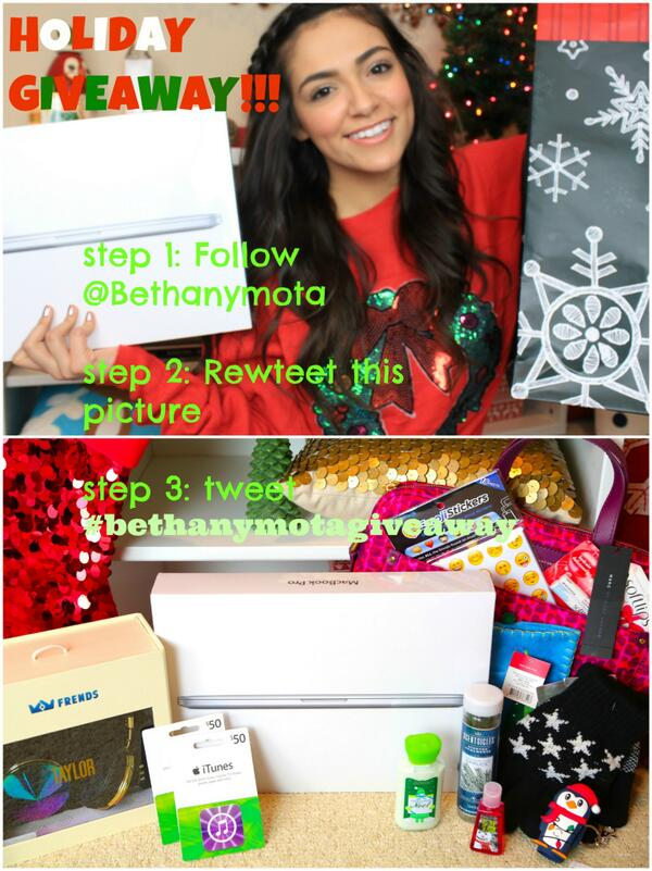 Holiday Giveaway! RT this tweet, Follow me on Twitter, and tweet hash tag #BethanyMotaGiveaway! Happy Holidays!