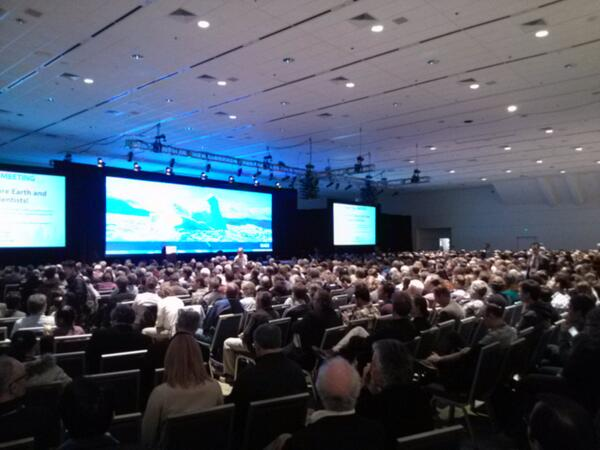 Crowd is gathering for Jim Hansen. #AGU13 moscone north http://t.co/Jv9SS2aUP2