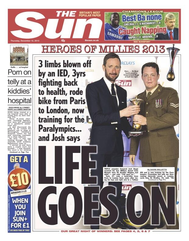 "RT @suttonnick: Thursday's Sun front page - ""Life goes on"" #millies http://t.co/skeUY6ViyI"