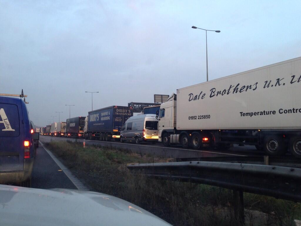 Might be late this morning, M6 junction 2 is a car park!! http://t.co/seGfetgRmN