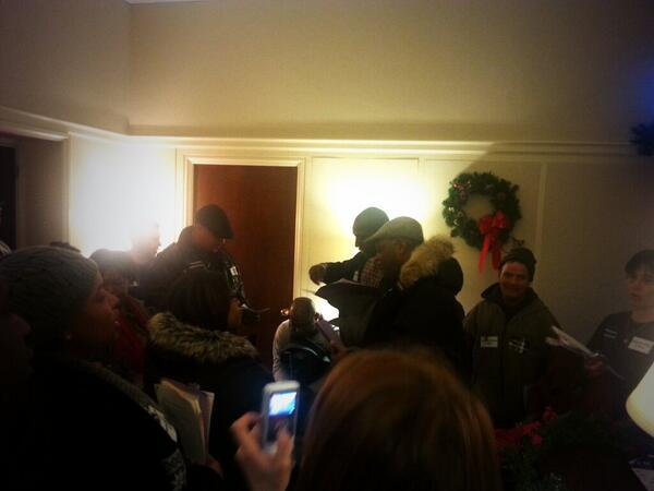 A big group stormed into @MicheleBachmann office to demand #CIR. Capitol police is now pushing them out. #timeisnow http://t.co/CxNMHIYAkg