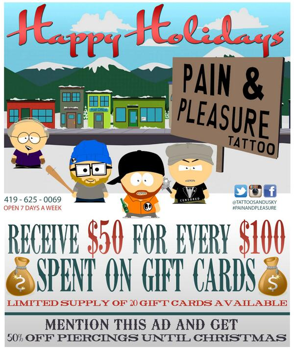 Pain And Pleasure Tattoo On Twitter Holiday Gift Card Piercing