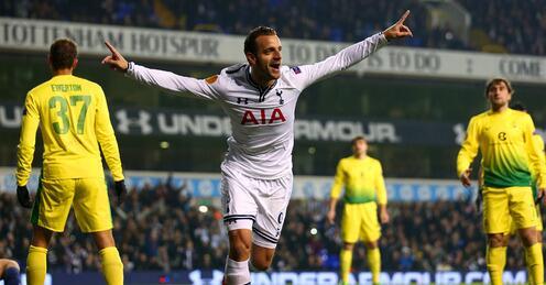 Spurs hat trick hero Roberto Soldado celebrating one of his goals v Anzhi tonight