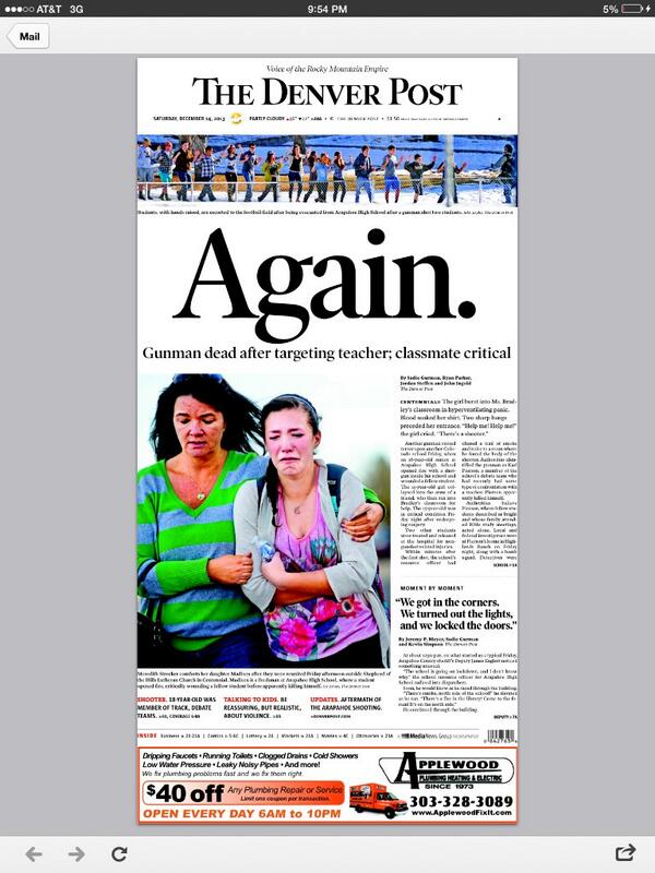 Front page of tomorrow's @denverpost  http://t.co/oEJgLvRmUz #ArapahoeHigh via @Lin_Shapley
