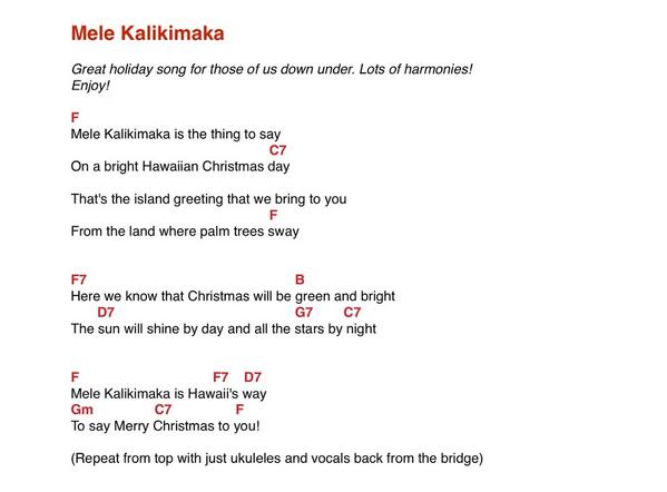 Joyce Seitzinger On Twitter Mele Kalikimaka Ukulele Chords For