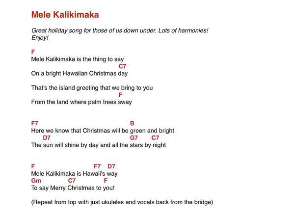 joyce seitzinger on twitter mele kalikimaka ukulele chords for this sunny xmas song ping kimtairi httptcotcjzjhu6kr - Hawaiian Merry Christmas Song