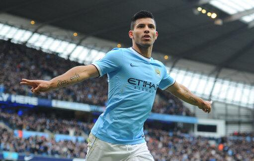 Sergio Kun Aguero celebrates goal v Arsenal, hair looking immaculate