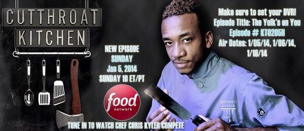 chris kyler on twitter check out the new season of cutthroat kitchen sunday at 10pm tune in jan 5 2014 to watch chef chris kyler compete - Cutthroat Kitchen
