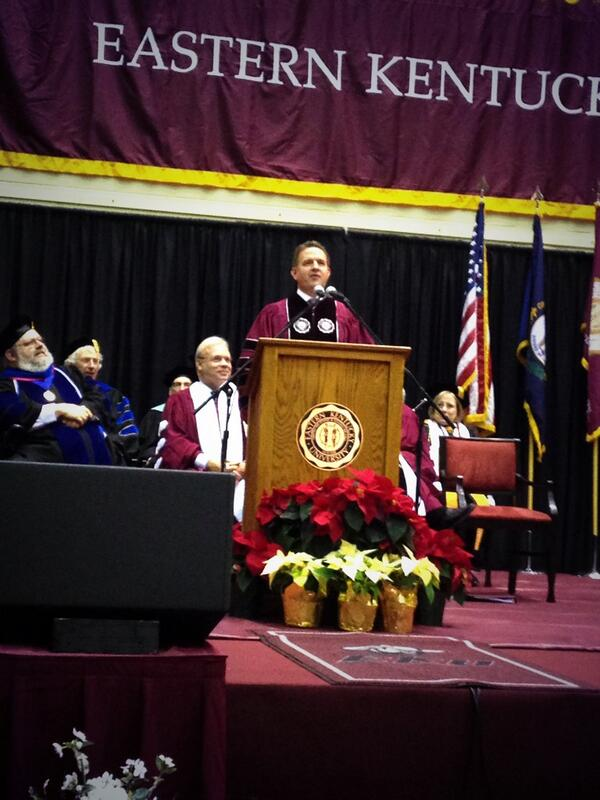Dr. Mike Benson delivers Commencement address @EKUPrez @RichmondRnews @WEKUnews @easternprogress #EKUgrad http://t.co/J7afS1Uftj