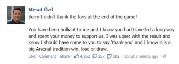 Mesut Ozil apologises to Arsenal fans on Facebook for his behaviour at Man City