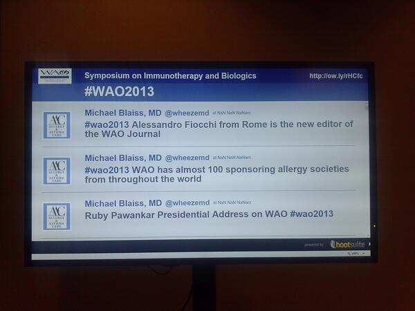 +1 RT @DrVes: Twitter stream screen outside the conference room at #wao2013 - #aaaai #acaai should do the same http://t.co/sTZ3gbVL4x