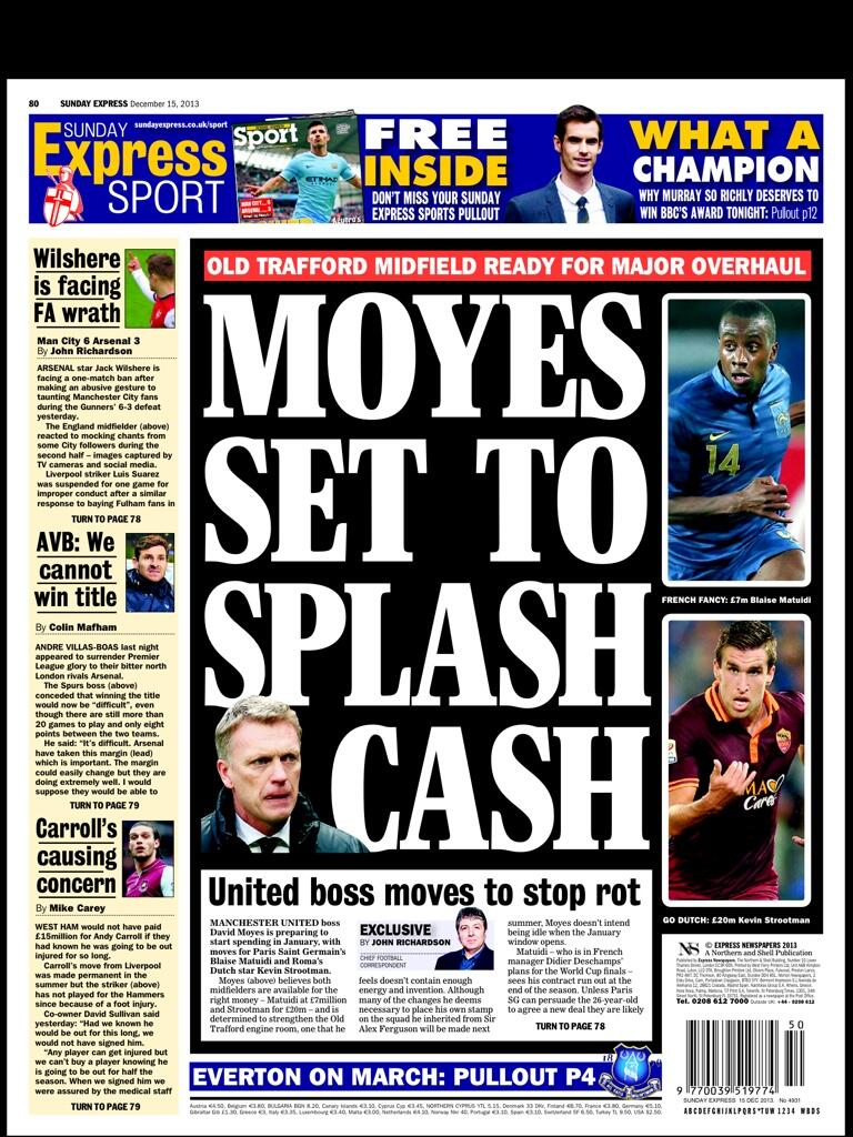 Man United to are chasing Evertons Barkley, PSGs Matuidi & Romas Strootman [Sunday Express & Star]