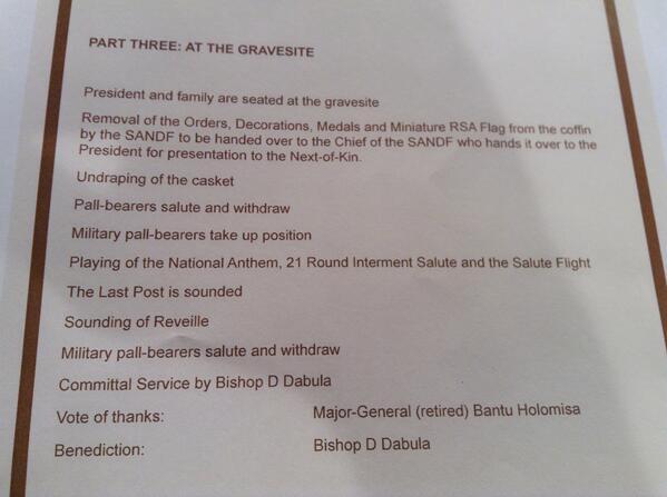 Leanne Manas On Twitter Nelson Mandela State Funeral Programme