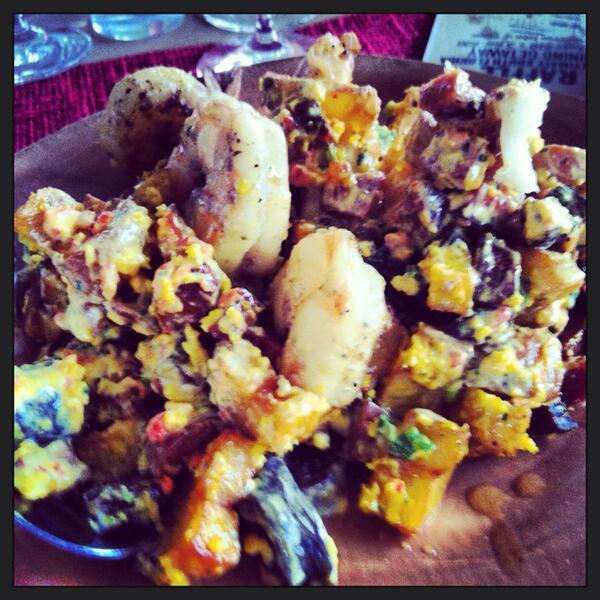 shrimp w/ crispy chorizo, papas bravas & saffron vinaigrette at @PBFoodWineFest #southerncomfort #PBFWF http://t.co/zLoEOV7Jzh
