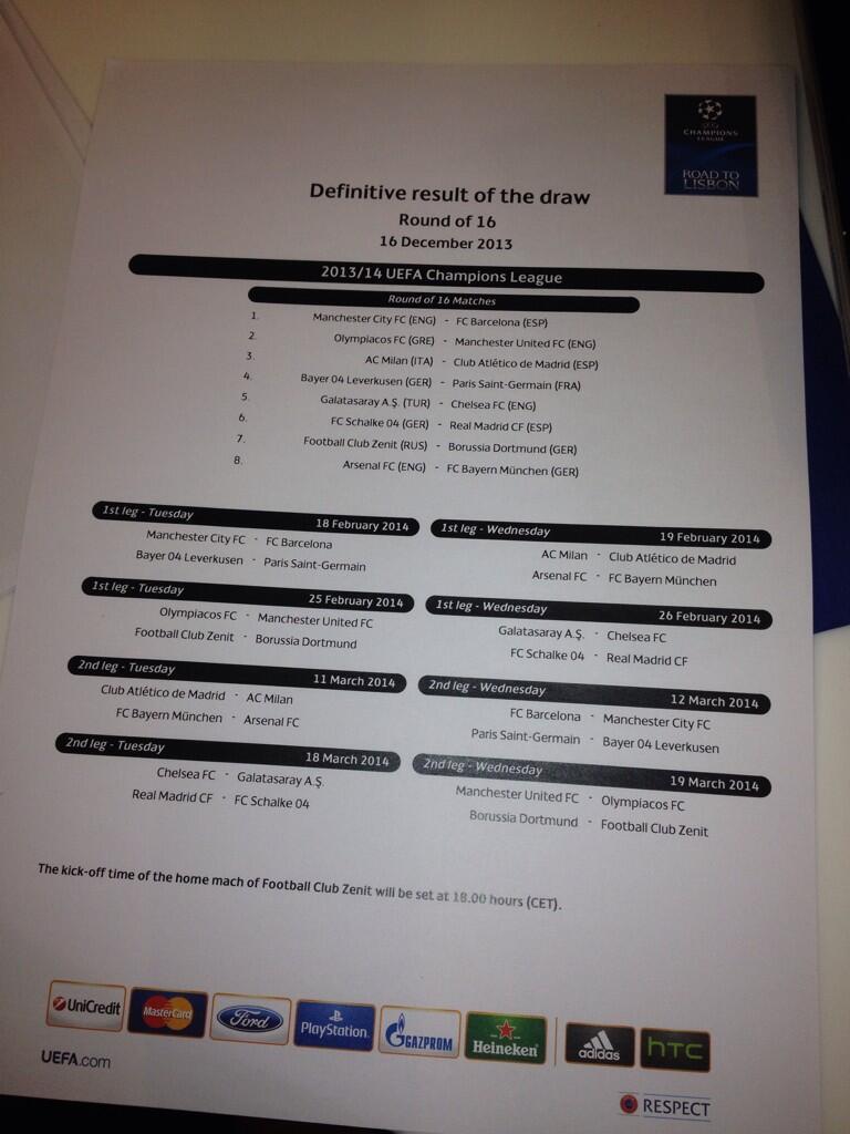 موعد مبايات دور ال 16 دوري ابطال اوروبا 2013 - 2014