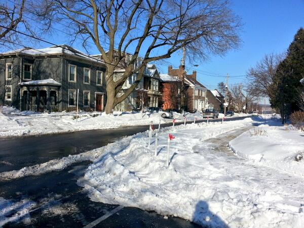 Knockdown sticks make a curb bumpout in the North End (RTH file photo)