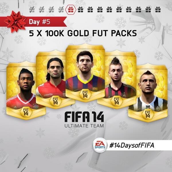 DAY 5: We're gifting five 100K packs! Follow @EASPORTSFIFA and Retweet for a chance to win. #14DaysofFIFA http://t.co/oa1jjXgmrX