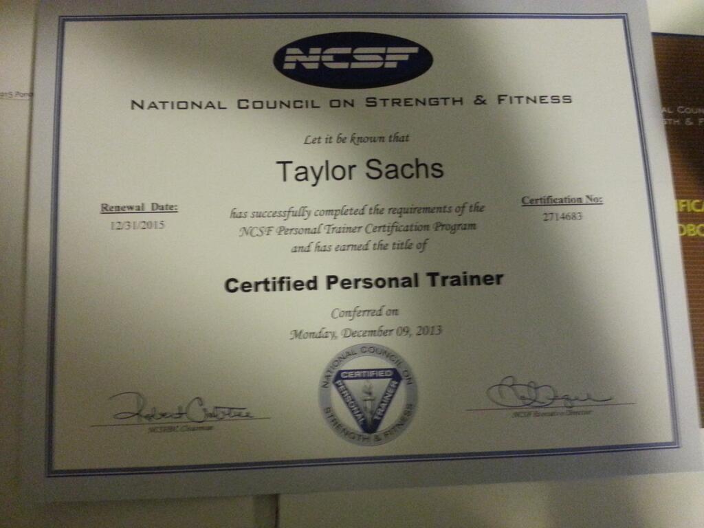 Taylor Mark Sachs On Twitter Finally Got My Certificatencsf Http
