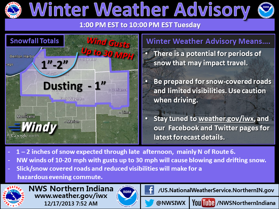 Winter Weather Advisory infograhic from northern Indiana NWS