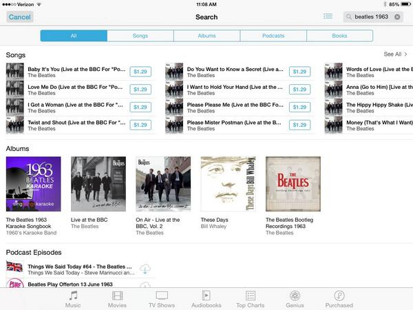 There it is. Beatles Bootleg Recordings 1963 is NOW searchable in U.S. iTunes. Here's proof: http://t.co/v3VZjgljtH