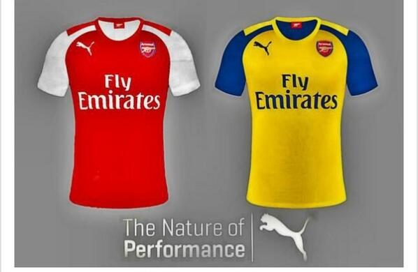79bef286225 The away shirt features a change from this season s all yellow collared  shirt. The yellow colour is prominent in Puma  new strip with an addition  of a blue ...