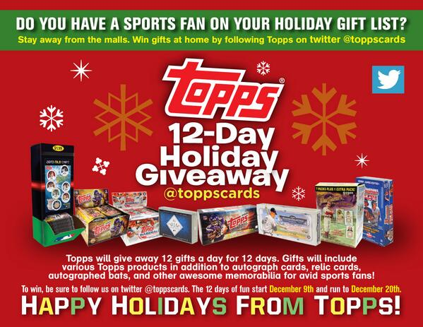A few days left in the @Topps12daygiveaway.  Follow/RT 4 a chance 2 win 1 of 4 boxes of Topps Allen and Ginter! http://t.co/PoXLb9tx6X