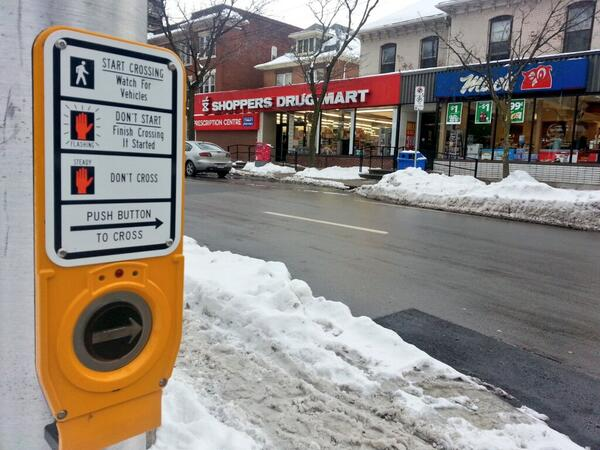 Button-activated crosswalk at Herkimer and Caroline