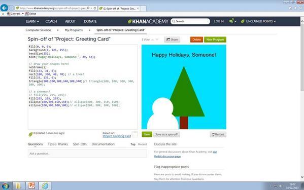 Coding Christmas cards at @sl_academy #HourOfCode #teachHOC @khanacademy http://t.co/UH1OucT8RI