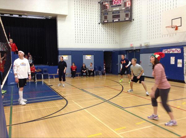 Students vs staff volleyball game this week to celebrate a great season. #tvdsbcelebrates #esps http://t.co/9ByhsfD3tQ