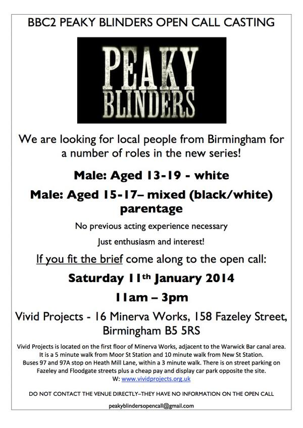 #PEAKYBLINDERS Open casting call for Birmingham males aged 13-19yrs on Jan 11th. See attached flyer for details http://t.co/c2u1d1XUuI