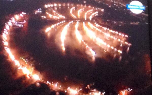 It is late but worth the wait- the Palm fireworks .. #Dubai #NewYear2014 http://t.co/H7hOw6QeuA