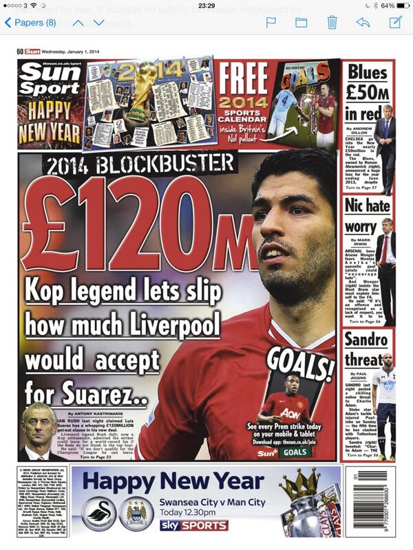 Liverpool would sell Luis Suarez for £120m if they miss out on the top four, says Anfield legend Ian Rush [Sun]