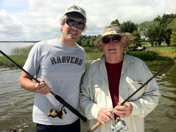 Mo Rocca wearing a Harverd T-shirt as he fishes for laughs
