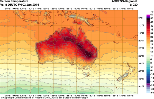 "Keep cool tomorrow everyone! ""@Simon_Cullen: Here's tomorrow's temps - black is above 50°C. (via @DavidCurnowQld) http://t.co/Dxy2kv7dDu"""
