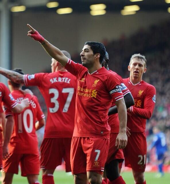 Luis Suarez Points To The Fans In Celebration After 2nd